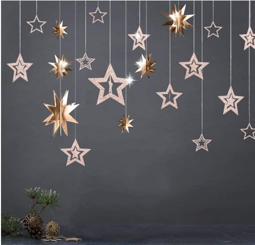 3D Champagne Gold Star Garland and Twinkle Little Star Cutout Hanging Decoration