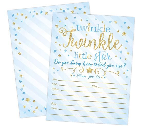 Blue and Gold Twinkle Twinkle Little Star Boy Baby Shower Invites