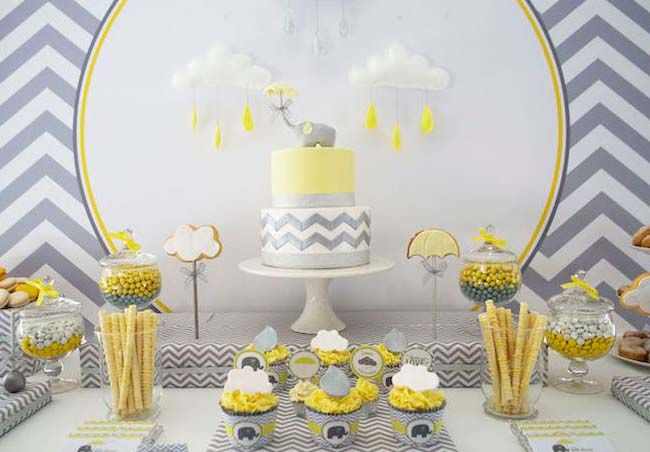 Grey Elephant Themed Baby Shower