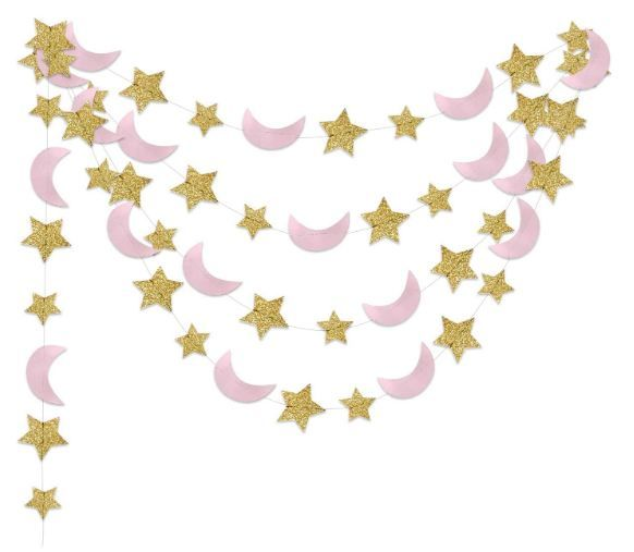 Moon and Star Garland Twinkle Twinkle Little Star of 2pcs Pink Gold Princess Birthday Party Decorations