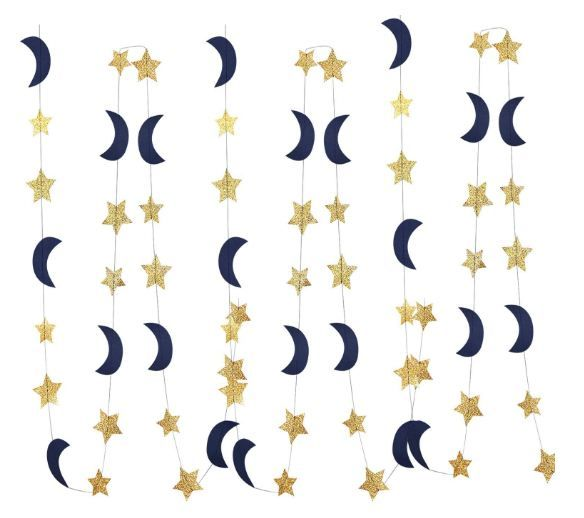 Navy Gold Glitter Outer Space Birthday Party Decorations