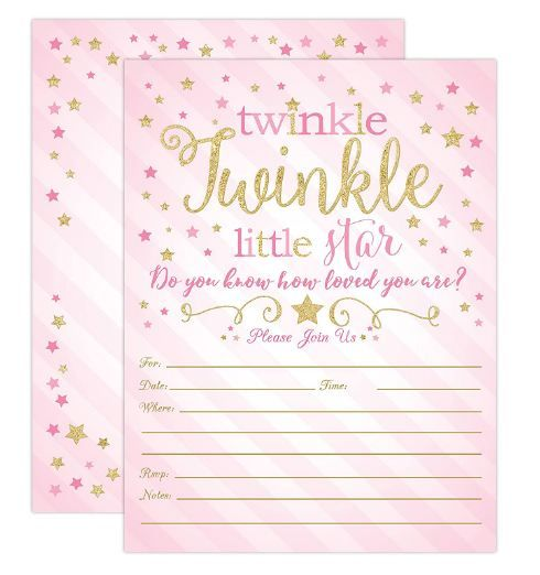 Pink and Gold Twinkle Twinkle Little Star Girl Baby Shower Invites