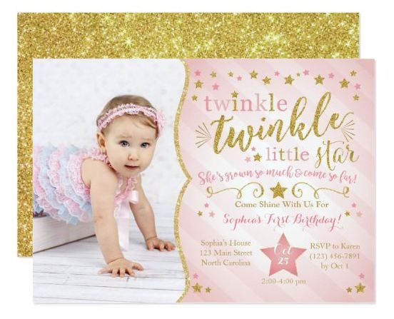 Twinkle Twinkle Little Star Baby Girl Birthday Invitation