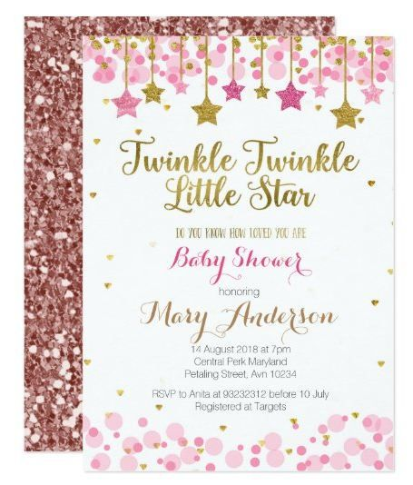 Twinkle Twinkle Little Star Baby Shower Invite Gir