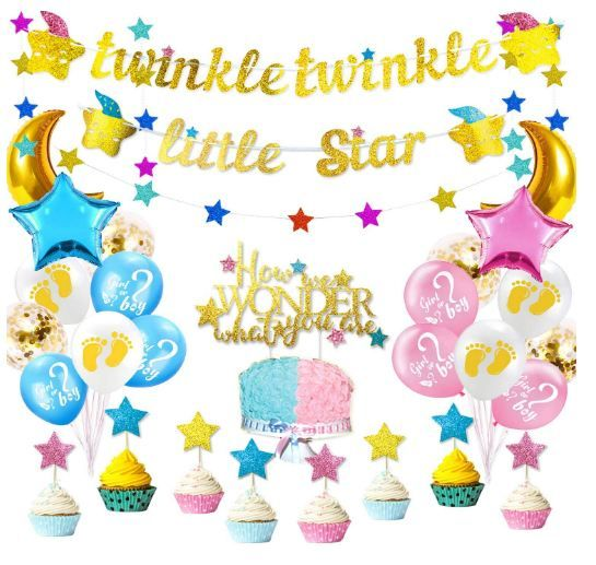 Twinkle Twinkle Little Star Gender Reveal Party Supplies Decorations Kit