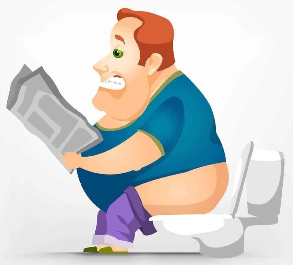 Fat Man Sitting Toilet